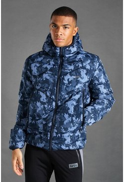 Navy MAN Active Camo Printed Puffer Jacket