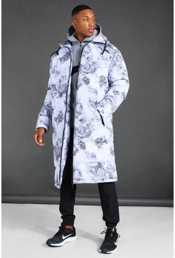 White MAN Active Oversized Camo Print Longline Puffer