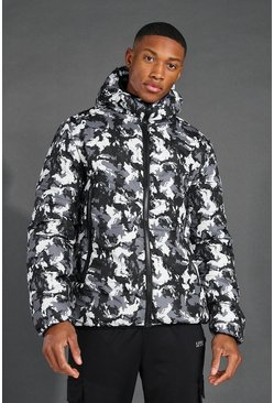 Black MAN Active Camo Printed Puffer Jacket