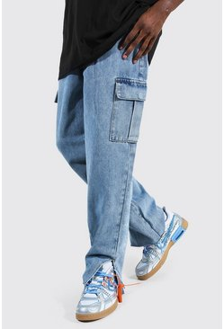 Ice blue Relaxed Fit Split Hem Cargo Jean