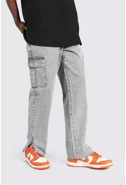 Ice grey Relaxed Fit Split Hem Cargo Jean