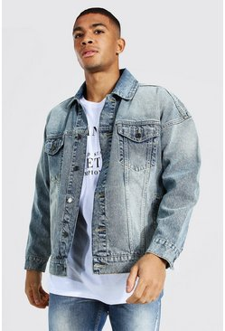 Antique blue Boxy Fit Denim Jacket