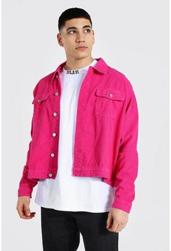 Bright pink Boxy Fit Cord Jacket