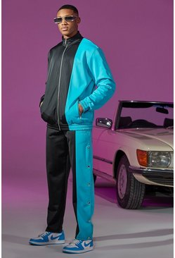 Black Funnel Neck Spliced Tracksuit With Poppers