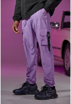 Lilac Shell Buckle Cargo Joggers