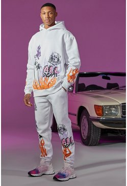 White Oversized Flame Print Hooded Tracksuit With Tab