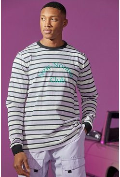 Lilac Stripe Long Sleeve T-shirt With Embroidery