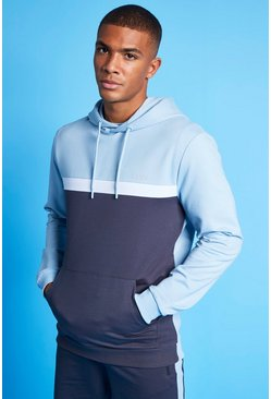 Pale blue MAN Active Colour Blocked Over the Head Hoodie