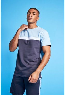 Pale blue MAN Active Colour Block T Shirt