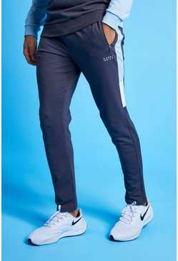 Pale blue MAN Active Colour Block Striped Jogger