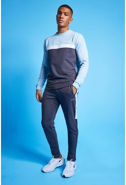 Pale blue MAN Active Colour Blocked Sweatshirt Tracksuit