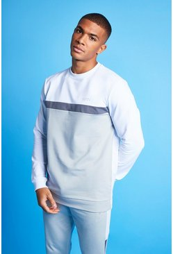 White MAN Active Colour Blocked Sweatshirt