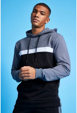 Charcoal MAN Active Colour Blocked Over the Head Hoodie