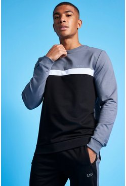 Charcoal MAN Active Colour Blocked Sweatshirt