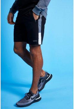 Charcoal MAN Active Colour Block Striped Short