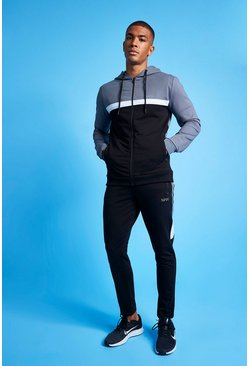 Charcoal MAN Active Colour Blocked Hooded Zip Tracksuit