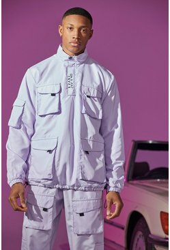 Lilac Utility Cagoule With Exposed Stitching
