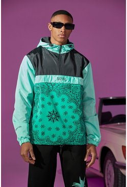 Green Colour Block Bandana Print Cagoule