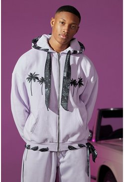 Lilac Oversized Zip Through Hoodie With Bandana Lining