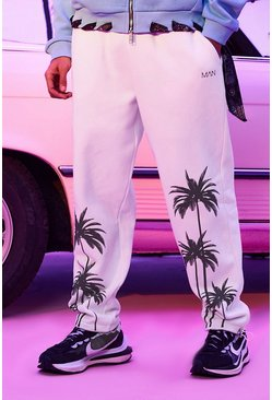 White Regular Fit Palm Print Jersey Jogger
