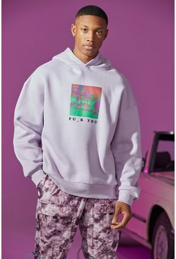 Lilac Oversized Fu_k Front And Back Print Hoodie