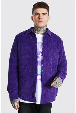 Purple Cord Quilted Shirt Jacket