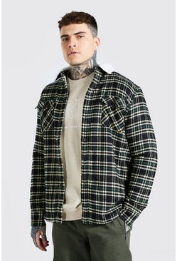 Teal Quilted Check Overshirt With Borg Lining