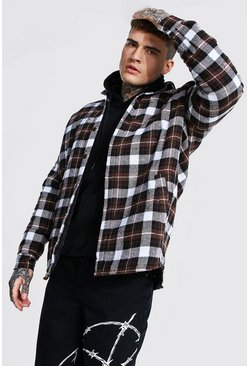 Choc brown Oversized Quilted Flannel Overshirt