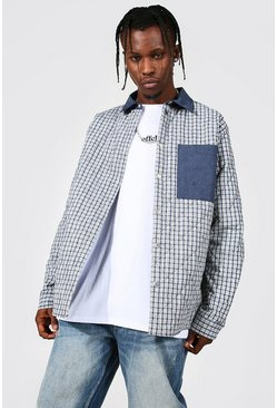 Navy Quilted Checked Overshirt With Contrast Pocket