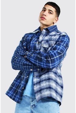 Cobalt Quilted Spliced Check Overshirt