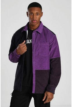 Purple Quilted Colourblock Cord Overshirt