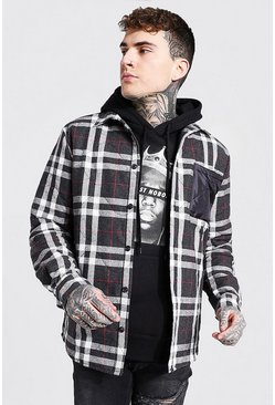 Black Quilted Flannel And Nylon Mix Overshirt
