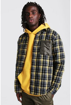Yellow Quilted Check And Nylon Mix Overshirt
