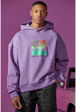 Purple Oversized Fu_k Front And Back Print Hoodie