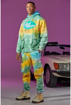 Oversized Cargo Tie Dye Printed Tracksuit, Green