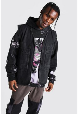 Veste utilitaire cargo sans manches en denim, Washed black