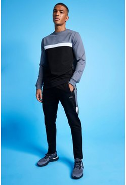 Charcoal MAN Active Colour Blocked Sweatshirt Tracksuit