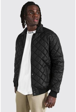 Quilted Varsity Harrington , Black