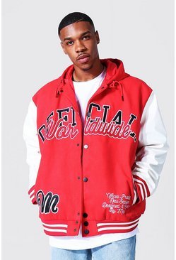 Hooded Varsity Harrington , Red