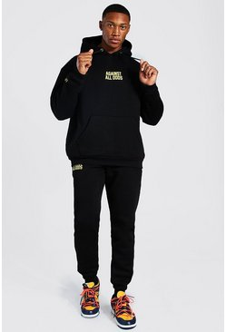 Black Oversized Against All Odds Man Hooded Tracksuit