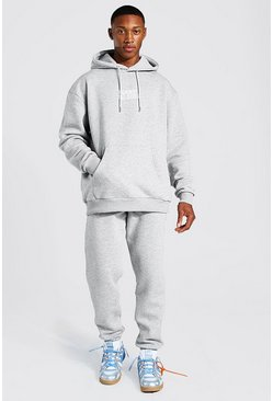 Grey marl Oversized Against All Odds Man Hooded Tracksuit