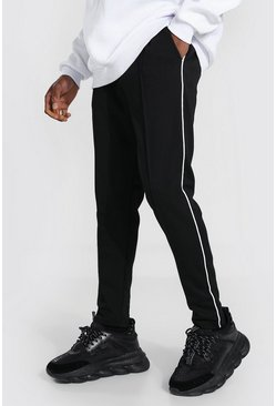 Black Skinny Pintuck Scuba Joggers With Side Piping
