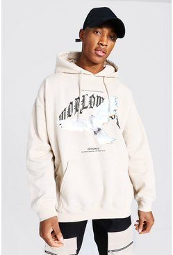 Sand Oversized Worldwide Dove Print Hoodie