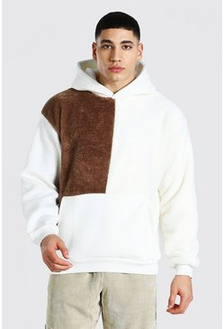 Brown Oversized Colour Block Borg Hoodie