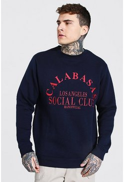 Navy Calabasas Embroidered Sweatshirt