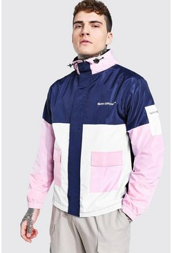 Pink Colour Block Man Branded Front Pocket Cagoule