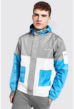 Grey Colour Block Man Branded Front Pocket Cagoule