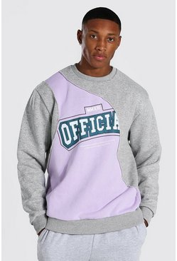 Purple Oversized Official Print Spliced Sweatshirt