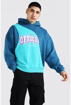 Teal Oversized Official Print Spliced Hoodie