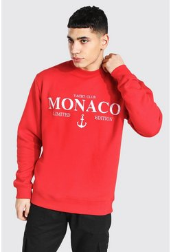 Red Monaco Embroidered Sweatshirt